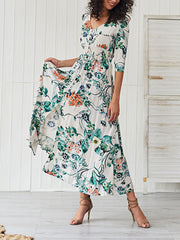 Printed Button V-neck Print Maxi  Dress
