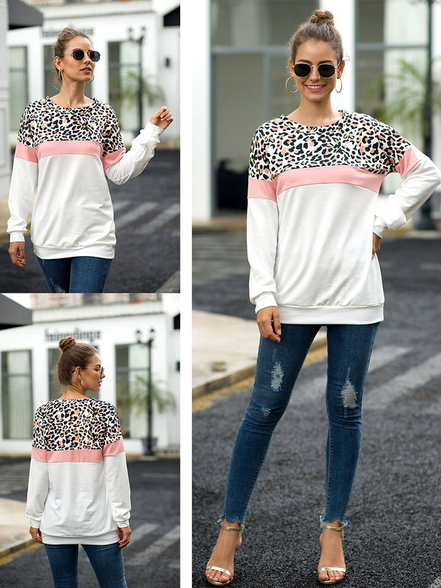 Camouflage Leopard Stitching Round Neck Long Sleeve T-Shirt