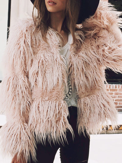 Fashion Ladies Faux Fur Plush Coat