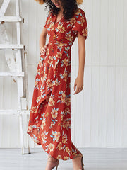Small Floral Women's V-Neck Maxi Dress