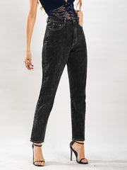 Dark Snowflake Washed Denim Loose Jeans