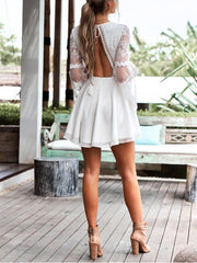 Flare Sleeves Open Back Strap Mini Lace Dress