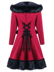 Fur Splicing Back Lace-up Detail Winter Coat