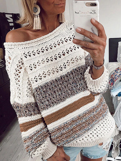 Printed Round Neck Casual Loose Openwork Sweater