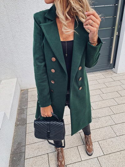 Womens Double-breasted Suit Long Coat