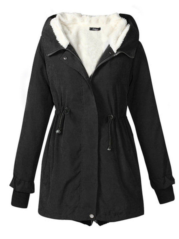 Women Waist Drawstring Solid Color Slim Coat