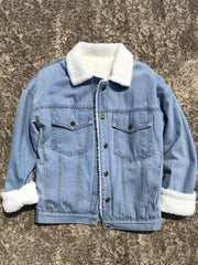 Fuzzy Single Breasted Women's Denim Coat