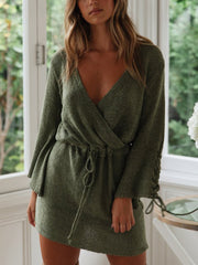 Loose V-neck Tie Long-sleeves Knit Mini Dress