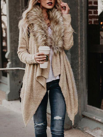 Women's Elegant Solid Color Fall Winter Plush Coat