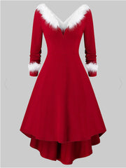 Plus Size  Asymmetrical Faux Fur Red Midi Dress