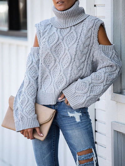 Women's fashion High Neck Irregular Long Sleeve Sweater