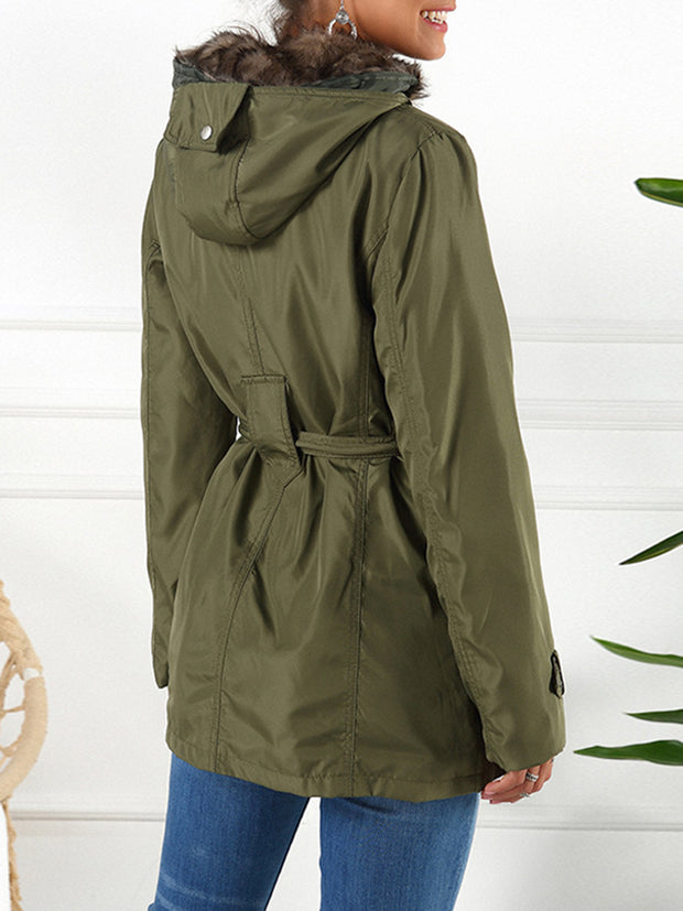 Solid Color Belt-Detail Front-Zip Hooded Coat