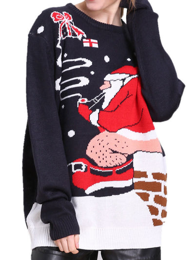 Christmas Costume Print Knitted Loose Sweater