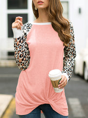Leopard Print Twisted Long-sleeved T-shirt Round Neck Loose T-Shirt
