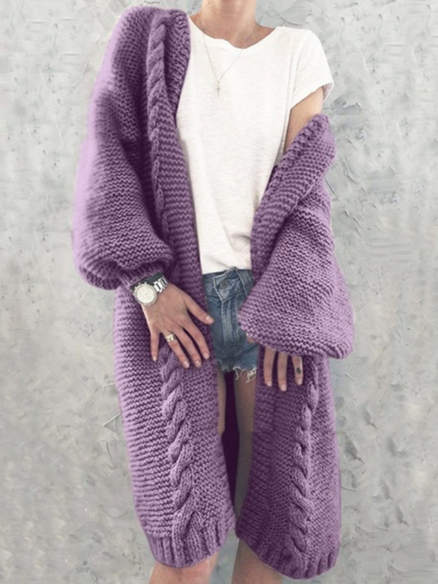 Open Front Solid Color Long Sleeve Knitted Long Coat
