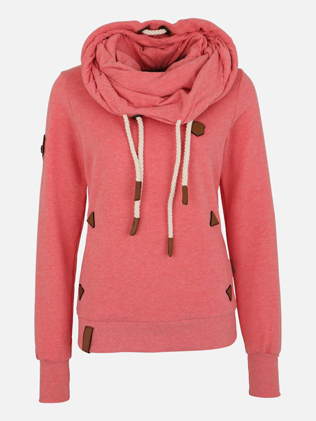 Fashion Casual Side Pockets Shawl Collar Long Sleeve Solid Color Splice Hoodie