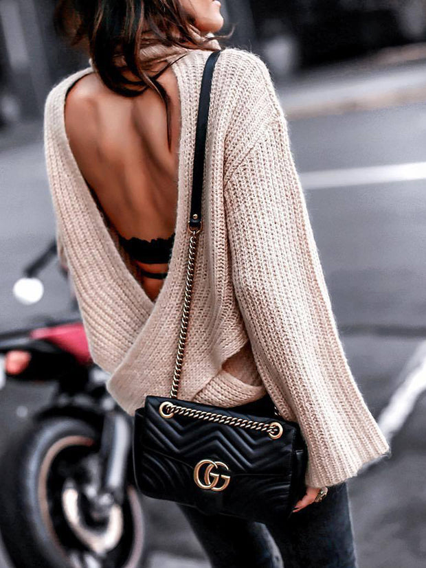 Solid Color Turtleneck Back Cross Open Back Knit Sweater