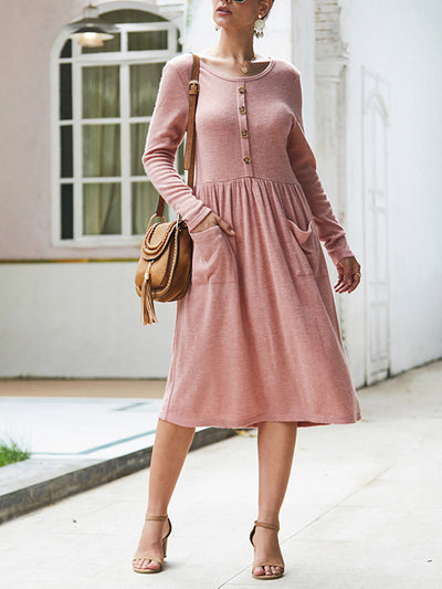 Bohemian Round Neck Long Sleeve Solid Button Pleated Pocket Midi Dress
