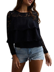 Crew Neck Long Sleeves Lace Layered Top T-shirt