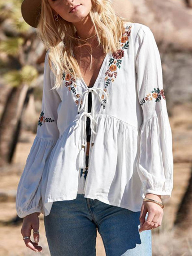 Boho Summer Lantern Sleeves V-Neck Lace Embroidery Tops