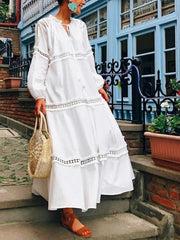 Neck Lantern Sleeve Hollow Out Maxi Dress