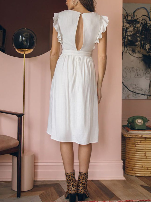 Midi Dress White Color Summer Women's Dress