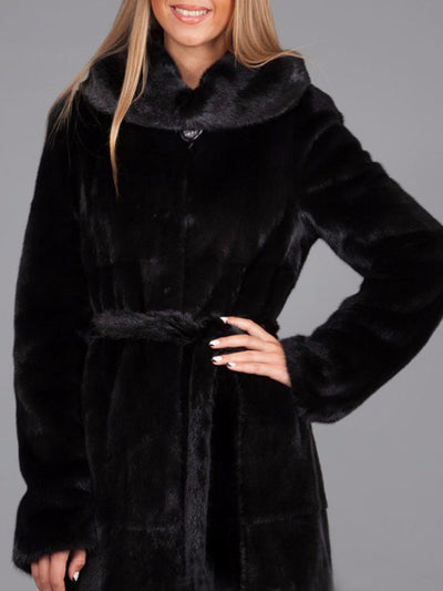 Womens Winter Hooded Solid Color Faux Fur Coats