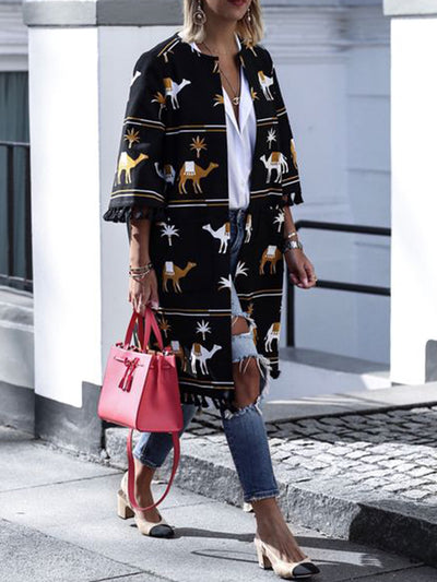 Women's Fashion Print Tassel Hem Coats