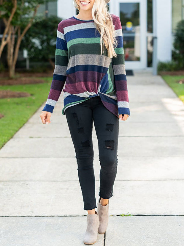 Fashion Round Neck Long Sleeve Stripe Knot Splice T-shirt