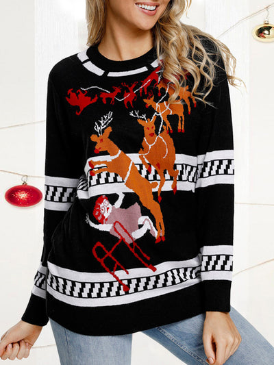 Casual Round Neck Christmas Reindeer Sweaters