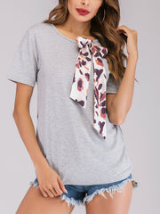 Women's Solid Basic Cotton T-shirt with Patchwork
