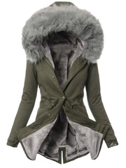 Snap Fastener Solid Color Long Sleeve Winter Coat