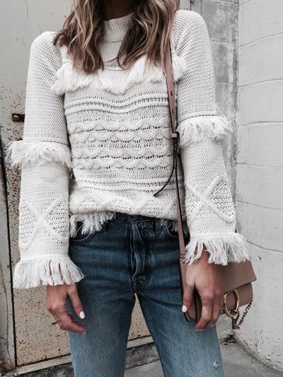 Fashion Solid Loose Hollow Tassel Hem Sweater