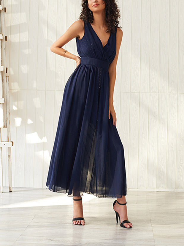 Sexy V-neck Halter Maxi Dress