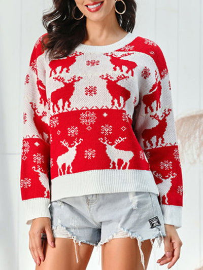 Christmas Fawn Snowflake Long Sleeve Sweater