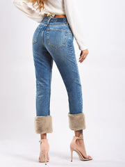 Loose Fur Feet High Waist Nine Points Jeans