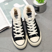 Students Plus Velveteen Canvas Sneakers High-top Board Shoes