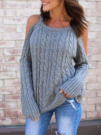 Elegant Off Shoulder Solid Color Knitted Long Sleeve Sweater