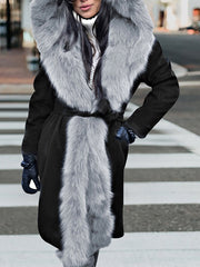 Winter Fashion Hooded Long Fur Coat