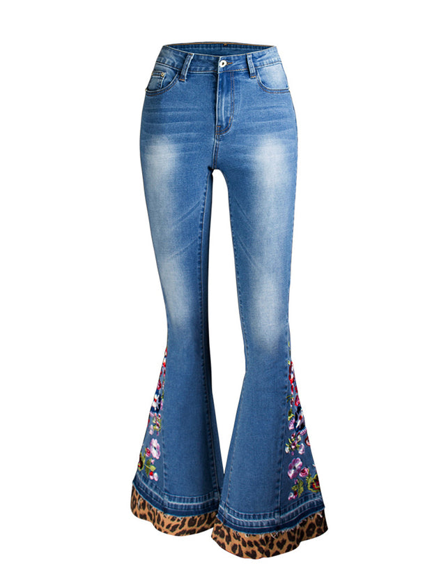 Printed Stitching Leopard Wide Leg Jeans
