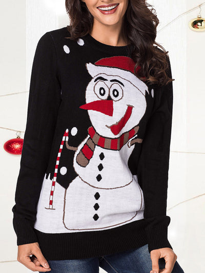 Casual Round Neck Snowman Pattern Knit Sweaters