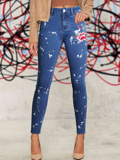 Embroidered Slim Women's Feet Pants Embroidered Jeans