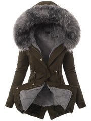 Slim-fit Warm Solid Color Split Hooded Zipper Coats