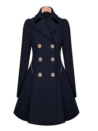 Double Breasted Solid Color Slim Winter Coat