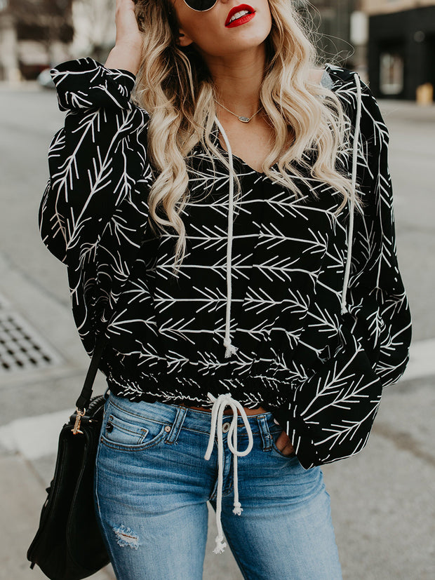 Black Casual Long Sleeve Printed Blouse
