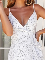 White Dot Sleeveless Wrap Midi Dress