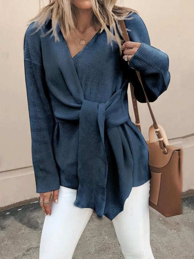 Fasion V Neck Solid Color Bandage Sweater