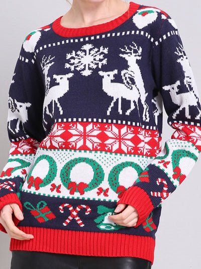 Round Neck  Long Sleeve Knitted Chrismas Sweater