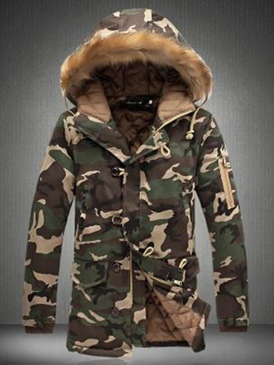 Couple Style Ladies Camouflage Large Fur Collar Coat