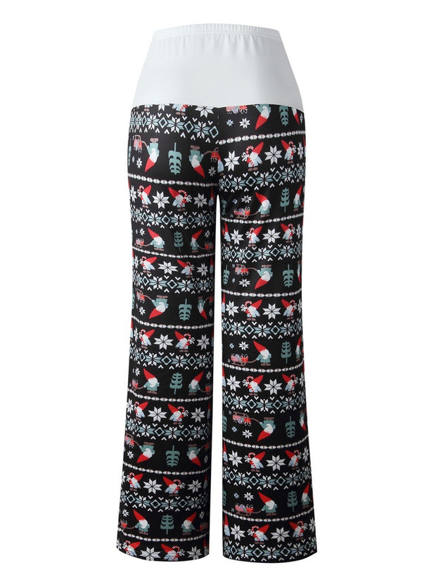 Christmas Costume Print Lace-up Pant